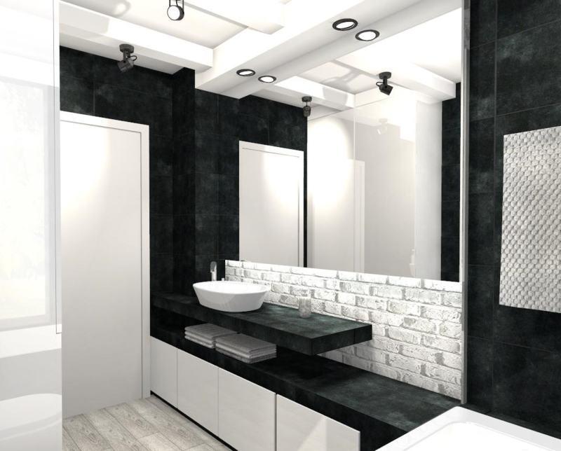 Czarno Biała łazienka Mj Design
